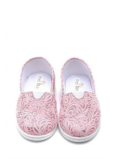 First Step Desenli Keten Çocuk Babet Ayakkabı--F-485 Pembe